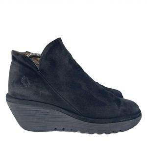 Fly London Yamy Wedge Bootie Black Leather Slouch
